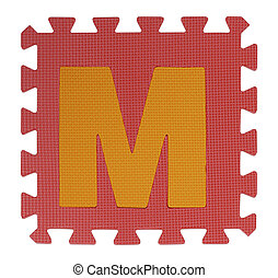 M text Jigsaw on white background , Interlocking EVA Foam,...