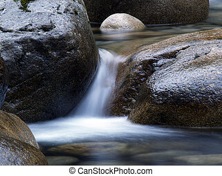 Water flowing over rocks - Water flowing quickly over rocks