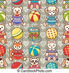 Children's toy. Animals. Seamless pattern. Vector...