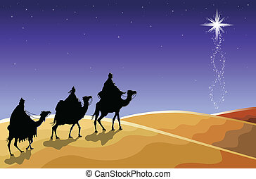 Christmas - The three wise men - Christmas religious card...