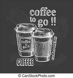 Coffee to go - Vector vintage hand drawn illustration of...