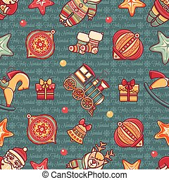 Christmas toys. Seamless pattern. Holiday background.