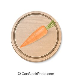 Realistic vector carrot on wooden brown cutting board isolated on white background. Design template.