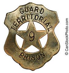 prisión, guardia, insignia