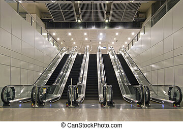 escadas rolantes, subterrâneo, Túneis