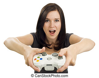 Excited girl holding video game controller - Girl holds a...