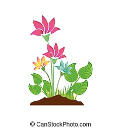 colorful silhouette with plant with flowers