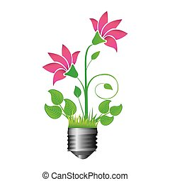 colorful silhouette of light bulb base with plant with...