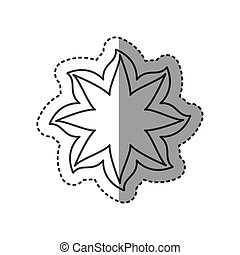 sticker black contour line with flower icon vector...