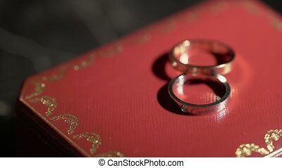 Two rings in a jewelry box - Two rings in a jewelry red box