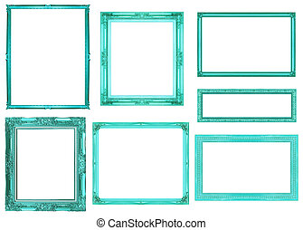 collection blue frame isolated on white background, clipping path
