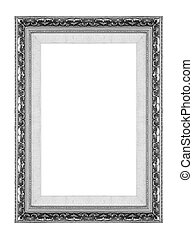 Antique picture gray frame isolated on white background,...