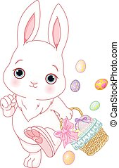 Easter Egg Hunt - Easter bunny participating in an Easter...