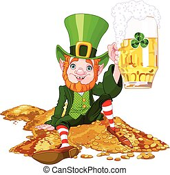 Drank Leprechaun - Illustration of a cute drank leprechaun