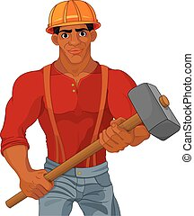 Worker - Cheerful construction worker holding hammer