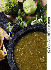 Salsa verde - Stock image of mexican salsa verde on mortar...