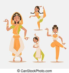 Indian woman dancing vector isolated dancers silhouette...