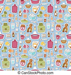 Flu influenza icons vector seamless pattern - Flu influenza...