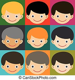 Boy face portrait fun happy young expression cute teenager cartoon character