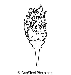 grayscale contour with olympic torch flame vector...
