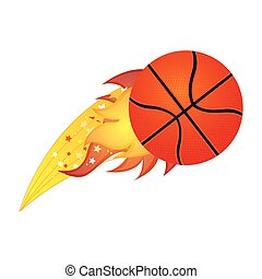 colorful olympic flame with basketball ball vector...