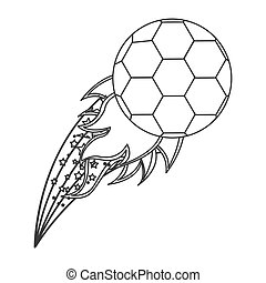 grayscale contour with olympic flame with soccer ball vector...