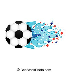 colorful olympic flame with stars and soccer ball vector...