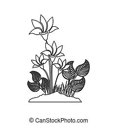 grayscale contour with plant with flowers