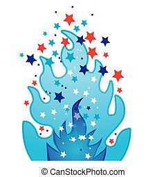 colorful silhouette with blue olympic flame with stars...