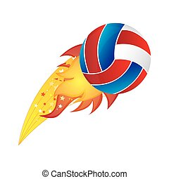 colorful olympic flame with volleyball ball vector...
