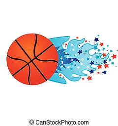 colorful olympic flame with stars and basketball ball vector...