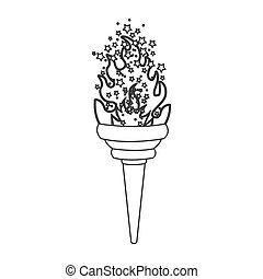 grayscale contour with olympic torch flame with stars vector...