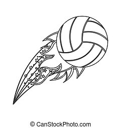 grayscale contour with olympic flame with volleyball ball...