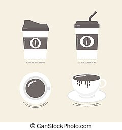 flat coffee icon - set of flat coffee ico, vintage style