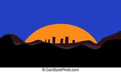 Sunset Over City - The sun sets and the moon rises over a...