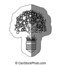 sticker grayscale contour with light bulb base with leafy...