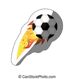 sticker colorful olympic flame with soccer ball vector...