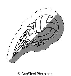 sticker grayscale contour with olympic flame with volleyball...