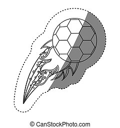 sticker grayscale contour with olympic flame with soccer...