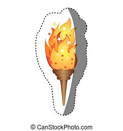 sticker olympic torch with yellow flame vector illustration