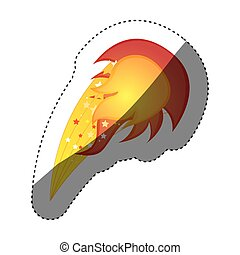 sticker colorful silhouette with yellow olympic flame vector...