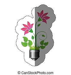 sticker colorful silhouette of light bulb base with plant...