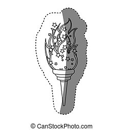 sticker grayscale contour with olympic torch flame vector...