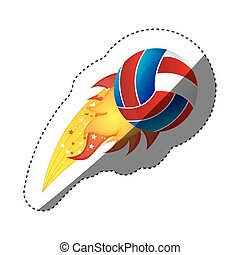 sticker colorful olympic flame with volleyball ball vector...