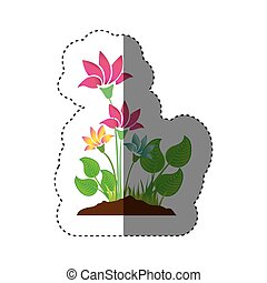 sticker colorful silhouette with plant with flowers
