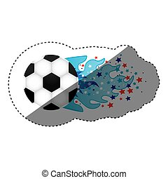 sticker colorful olympic flame with stars and soccer ball...