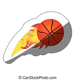 sticker colorful olympic flame with basketball ball vector...