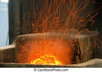 Flames brazing from a smithy