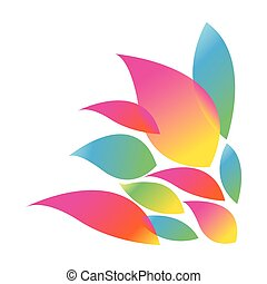 colorful silhouette with abstract petals vector illustration