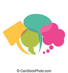 colorful collection speech bubbles and dialog balloons